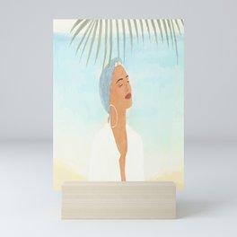 Under a Beach Palm Mini Art Print