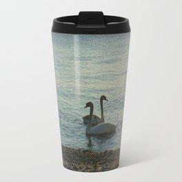 Swans on Lake Geneva Travel Mug