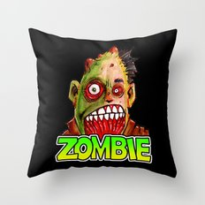 ZOMBIE title with zombie head Throw Pillow