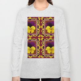 MAROON QUATREFOIL PURPLE & YELLOW SPRING PANSIES Long Sleeve T-shirt