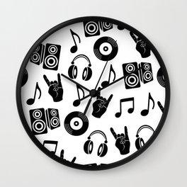 Doodles musical pattern Wall Clock