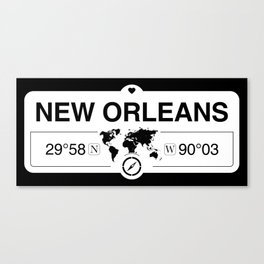 New OrleansLouisiana Map GPS Coordinates Artwork Canvas Print