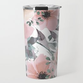 Peach Blush Watercolor Flowers Travel Mug