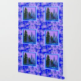BLUE-LILAC WINTER SNOWFLAKE CRYSTALS FOREST ART DESIGN Wallpaper