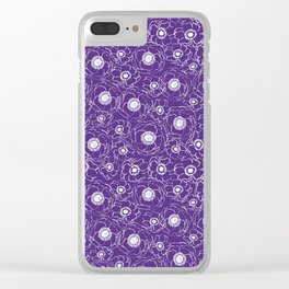 Purple and white floral pattern clemson football college university alumni varsity team fan Clear iPhone Case