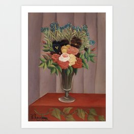 Bouquet of Flowers (Bouquet de fleurs) (ca. 1909 –1910) by Henri Rousseau. Art Print