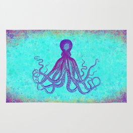Grunge Octopus in Violet and Turquoise Rug