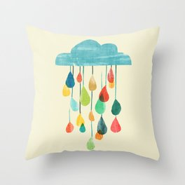 cloudy with a chance of rainbow Throw Pillow