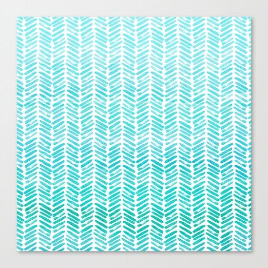 Handpainted Chevron pattern-small-light green and aqua Canvas Print