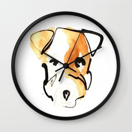 Black Ink and Watercolor Jack Russell Terrier Dog Wall Clock