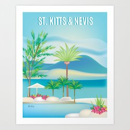 St. Kitts and Nevis - Skyline Illustration by Loose Petals Art Print