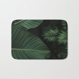 Tropical Beauty // Tropical Boho Leaves meets Minimalist Patterns Bath Mat