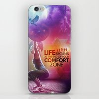 crossfit iPhone & iPod Skins featuring CrossFit - Life Begins At the Edge of Your Comfort Zone. by Carlz James Söda