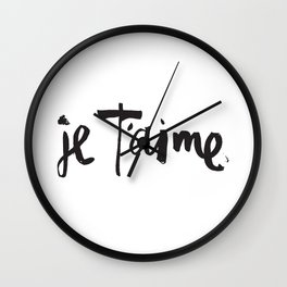 Je T'aime Brush Lettering Wall Clock