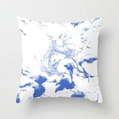 Marble Suminagashi indigo blue 4 watercolor pattern art pisces water wave ocean minimal design Throw Pillow