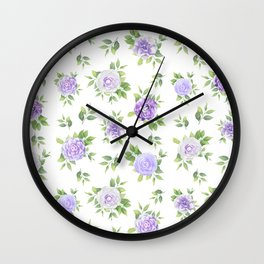Hand painted lavender violet green watercolor floral Wall Clock