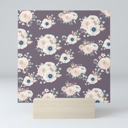 Dog Rose Pattern  Mauve Mini Art Print