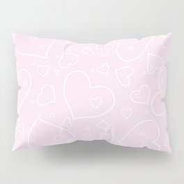 Palest Pink and White Hand Drawn Hearts Pattern Pillow Sham