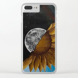Space And Sunflowers Clear iPhone Case