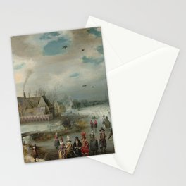 Skating on the Frozen Amstel River 1611 by Adam van Breen Stationery Cards
