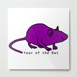 Purple Year of the Rat Metal Print