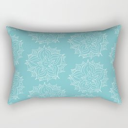 White Floral Medallion on Turqoise Background Rectangular Pillow