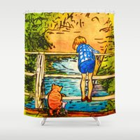 pooh Shower Curtains featuring Pooh in Egg Tempera by sky愛