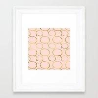 gold foil Framed Art Prints featuring Pink Gold Foil 01 by Aloke Design