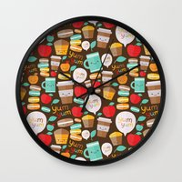 macaroon Wall Clocks featuring yum yum by Anna Alekseeva kostolom3000