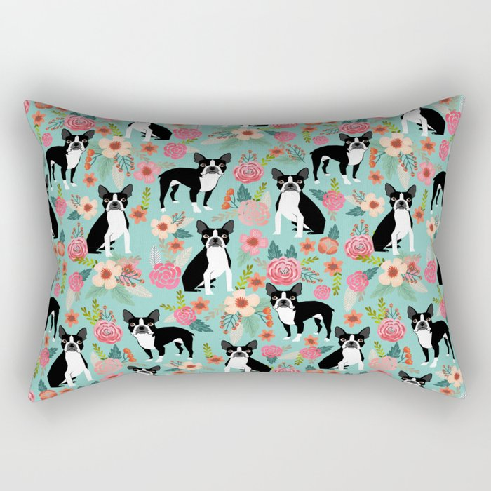 Boston Terrier floral dog breed pet art must have boston terriers gifts Rectangular Pillow