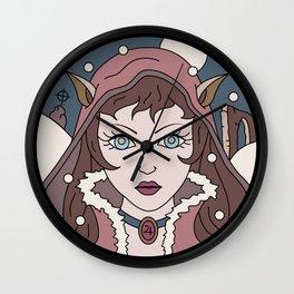 Wolf Princess in Winter Wall Clock