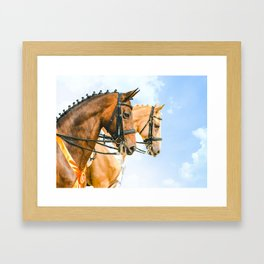 Side view portrait of two braided horses, blue sky as a background. Framed Art Print