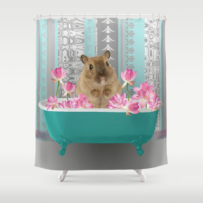 Bathtub with mouse and lotos Flowers Shower Curtain