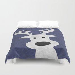 Christmas reindeer blue marble Duvet Cover