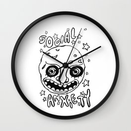 social anxiety black and white Wall Clock