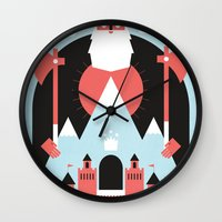 king Wall Clocks featuring King of the Mountain by Chase Kunz
