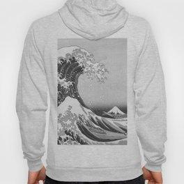 Black & White Japanese Great Wave off Kanagawa by Hokusai Hoody