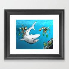 Monkeys Fighting Shark Framed Art Print