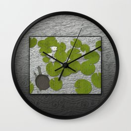 Water lilies with Florida Soft-shell Turtle Wall Clock