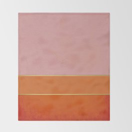 Orange, Pink And Gold Abstract Painting Throw Blanket