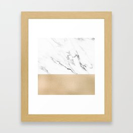 White Marble with Black and Copper Bronze Framed Art Print