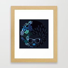 Afro Diva : Sophisticated Lady Teal Framed Art Print