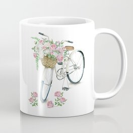 Vintage White Bicycle with English Roses Coffee Mug