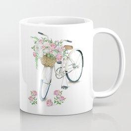 Vintage White Bicycle with English Roses Coffee Mug