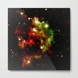 Galaxy Nebula Red Gold Green Metal Print