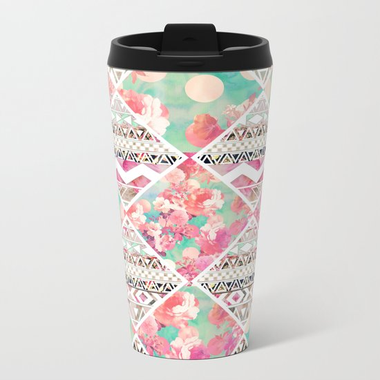 Aztec Floral  Diamond Metal Travel Mug