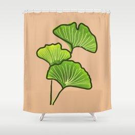 Ginkgo Biloba Leaves Nature Illustration Shower Curtain