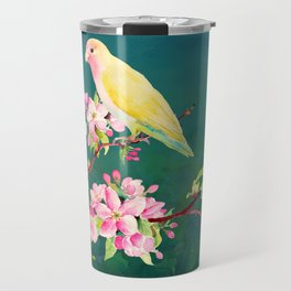 Watercolor Apple Blossoms and Love Birds Travel Mug