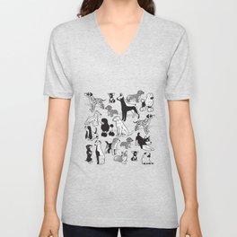 Geometric sweet wet noses // white background black and white dogs Unisex V-Neck