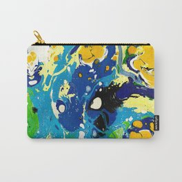Marble Ink in Blue Yellow Green Black White Carry-All Pouch